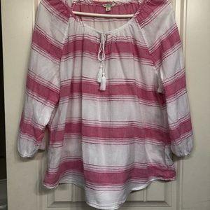 XL Sonoma pink & white stripped top